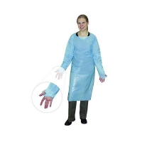 Best Single Use Surgical Aprons Blue Plastic Patient CPE Gowns With Long Sleeves wholesale