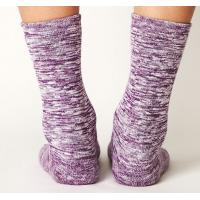 Best Purple Mix Colour Seamless Knitted Combed Cotton / Polyester / Nylon Ladies Crew Socks wholesale