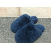 Best Navy Blue Fluffy Sheep Wool Slippers Quake Proof With Double Face Sheepskin wholesale