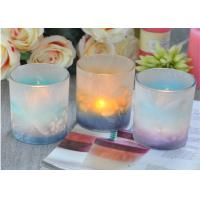 Best Custom Candle Luxury candle holders glass , Feather Painted glass candle jars wholesale