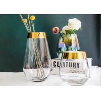 Best Egg Shape Whiskey Glass Cups With Gold Edge / Glass Flower Vases For Decoration wholesale