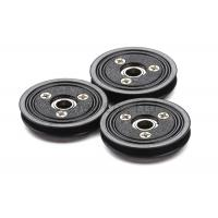 Best Flanged Ceramic Cable Pulley Wheels Black Color With Bearing , Plastic Body wholesale