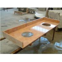 Red Marble Top : Details of red cream marble vanity top