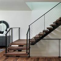 Best Prefab Open Internal Single Stringer Staircase with Stainless Steel Wire Railing wholesale