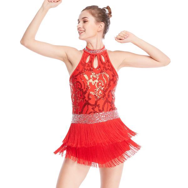 Cheap Floral Sequins Tap Costume Mock Neck Dance Dress 3 Rows Fringes Jazz Performance Wear for sale