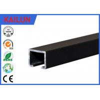 China Black Anodized Aluminum Slide Track , Ceiling Mounted Curtain Track 20 X 25 Mm on sale