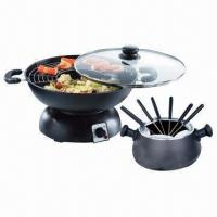 Best 2-in-1 Electric Wok and Fondue Set, Detachable Structure to Match Various Cooking Utensils wholesale