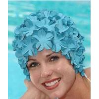 Cheap Original Flower Swim Cap- Old Fashioned Retro Petal Cap - Pastel Blue for sale