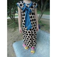 Best Stretched Little Girl Velvet Dresses , Black Polka Dots Fall Color Block Dress wholesale