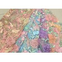 Best Bead Embroidered Lace Fabric, Scalloped Multi Color 3D Flower Lace Fabric For Dress wholesale