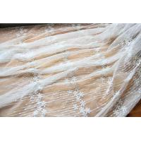 """Best Embroidery Floral White Tulle Lace Fabric For Dress Clothing / Scarf / Curtain 51.18"""" Wide wholesale"""