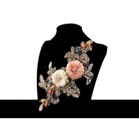 Buy cheap Custom 3D Flower Embroidered Applique Patches Bridal Bead Cord Lace No Azo from wholesalers