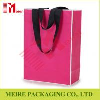 Best Recycled Medium Pink color printing Paper Carrier Bags with customized LOGO and black handle wholesale