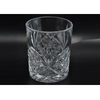 Best 313ml Leave Pattern Embossment Clear Votive Glass Candle Holders Replacement Candle Jar wholesale