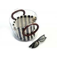 Best Canvas Round Shape Navy Blue Clutch Bag Stripe Pattern With Wood Handle 0.8 MM wholesale