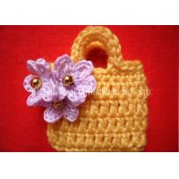 China Crochet Christmas Ornaments / Golden Beads Yellow Crochet Satchel With Purple Flower on sale
