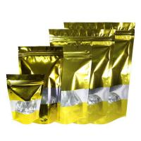 Best Stand Up Mylar Bags Gold Aluminum Foil Doypack with  Clear Window and Zip Lock wholesale