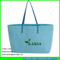 China LUDA  blue cheap handbags online paper straw beach bags and totes on sale