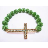 Cheap Handmade Green Rhinestone Shamballa Clay Bead Sideways Cross Bracelets for sale