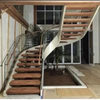Best Indoor use wood step glass railing steel curved staircase wholesale