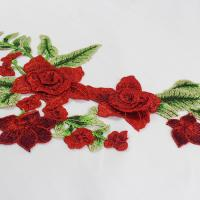 Best 34*18 CM Red Flower Embroidered Applique Patches For DIY Dress Decorative wholesale