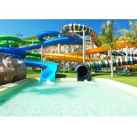 Best Multi Lane Fiberglass Water Slide Variable Spiral Tube Free Fall Into Slide wholesale