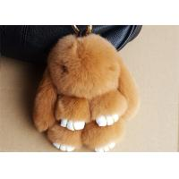 Best Nice Brown Rabbit Fur Keychain , Bunny Fur Doll Key Chain for Women Bag Charms wholesale