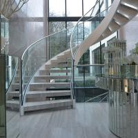 Best House Used Woodern Tread Curved Staircases with Railing and Handrail wholesale