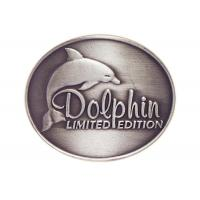 Best Customized Antique Silver Plating Curved Dolphin Badge, Pewter Souvenir Badges for Mug wholesale