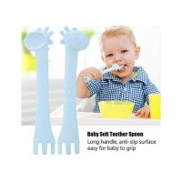 Best Soft Silicone Baby Teether Cute Giraffe Feeding Spoons Baby Gum-Friendly First Stage Soft Tip wholesale