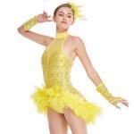 Best Mock Neck Sequins Jazz Costume Feather Trimmed Dance Dress Illusion Deep-V Joints Performance Wear wholesale