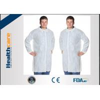 China Polypropylene Disposable Lab CoatWith Knitted Cuff And Button Blue Or White Color on sale