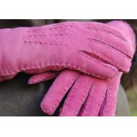 Best Handcrafted Warmest Sheepskin Gloves , Women's Handsewn Sueded Lamb Shearling Mittens wholesale