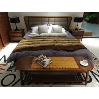 Best 2017 New design of  Fabric Upholstered headboard Bed by Walnut wood frame for Fashion Apartment  bedroom furniture use wholesale