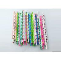 Best Environment Friendly Colored Paper Straws , Striped Paper Drinking Straws colored paper straws wholesale