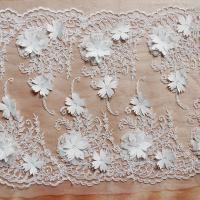 Best Beautiful White 3D Flower Lace Fabric , Double Edge Alencon Beaded Lace Fabric wholesale