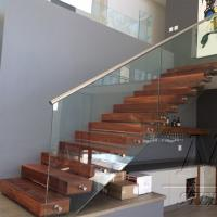 Cheap Customized Single Stringer Wood Treads Floating Stairs / Straight Staircase / Glass Stairs for sale