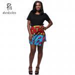 Best Summer Lady African Print Maxi Skirt Irregular Design Belt Skirt Batik Cloth wholesale