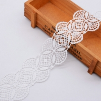 China Guipure Polyester 6.2cm  White Embroidered Lace Trimmings on sale
