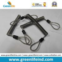 Best Double loops Wire Reinforced Plastic Spiral Lanyard Transparent Black Anti-theft Retainer wholesale