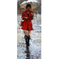 """Buy cheap lady in red oil painting on canvas 40"""" * 50"""" from wholesalers"""