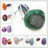 Best Mix Color Style Design Fashion Druzy Agate Jewelry, Agate Stone Ring wholesale