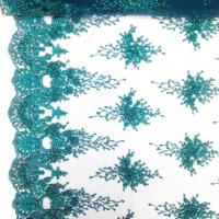 Best Green Color Teal Spirit Floral Bridal Beaded Lace Fabric On Mesh 100% Polyester wholesale