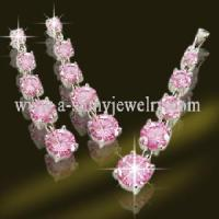 Best New Design 925 Sterling Silver Jewelry Set with Square Pink CZ (ESK5182) wholesale
