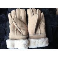 Cheap Black Thick Fur Warmest Sheepskin Gloves With Lambswool Lining Waterproof for sale