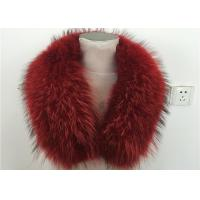 Best Natural Red Genuine Raccoon Fur Hood Trim , Ladies Fur Collar wholesale