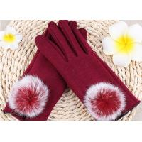 Best Warmest Sheepskin Gloves Velvet Fleece Gloves Red Color Rex Rabbit Fur Touch Screen wholesale