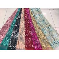 Best Embroidered Sequin Lace Fabric , Floral Tulle Fabric For Fashion Party Gown Dress wholesale