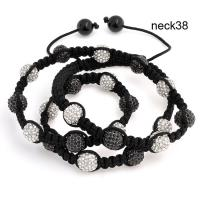 Best Black Cord Handmade Woven Rhinestone Shamballa Bead Necklace 16 Inches wholesale