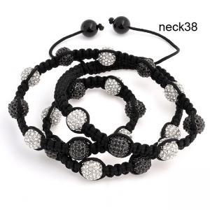 Best Black Handmade Shamballa Jewellery, Woven Rhinestone Beade Shambhala Necklace 16 Inches wholesale
